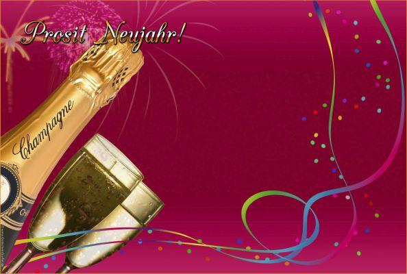 vorlagen, vordrucke für gutscheine mit text prosit neujahr, Einladung
